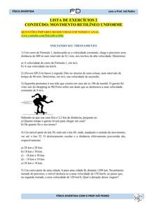 Lista de Exercícios 2 - Movimento Retilíneo Uniforme
