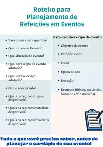 Roteiro para planejamento de refeições em eventos