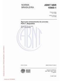 NBR 15900 : 2009 - Água para amassamento do concreto Parte 1: Requisitos
