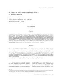 As éticas nas práticas de atencão psicológicas na assistencia social