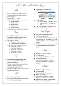 Ácidos, bases, pH e solução tampão