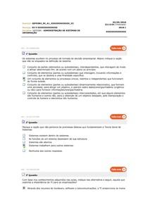 Avaliando aprendizado 1 -  Adm Sistemas de Informação