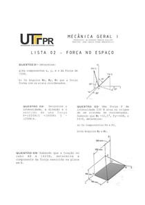 MEC 1 - Lista de exercícios de forças no espaço