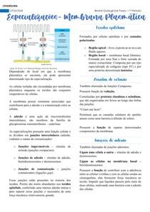 Citologia - Especializações da Membrana Plasmática