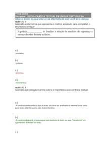 Prova Online PRÁTICA TEXTUAL EM LÍNGUA PORTUGUESA (Prova de dependência)