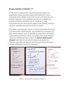 O que estuda o Cálculo 1