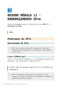 Resumo Módulo 12 - Endereçamento IPv6 - CCNA v7_1 - Introdução às Redes