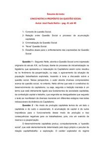 CINCO NOTAS A PROPÓSITO DA QUESTÃO SOCIAL