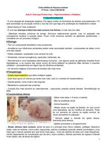Doenças Endocrinas em Pequenos Animais - Hipotireoidismo e Diabetes Mellitus