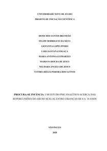 PROCURA-SE INF NCIA: UM ESTUDO PSICANALÍTICO ACERCA DAS REPERCUSSÕES DO ABUSO SEXUAL ENTRE CRIANÇAS DE 0 A 14 ANOS