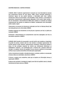 QUESTÕES ENADE 2015 - GESTÃO DE PESSOAS