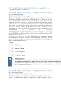 APOL 2 História Fundamentos e Metodologias Nos Anos Iniciais do Ensino Fundamental NOTA 100