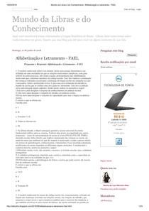 Alfabetização e Letramento - FAEL - questões para estudar