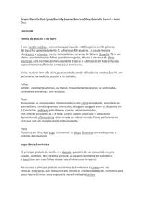 Resumo Famílias Lauraceae e Malvaceae
