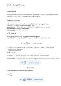 Cargas elétricas Resumo - Física III