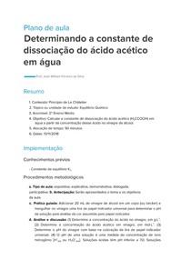 Plano de Aula - Determinando a Constante de Dissociação do Ácido Acético em Água
