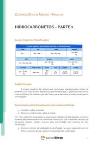 Hidrocarbonetos: cadeias ramificadas e mistas - Resumo