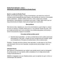 Aula 1 - Direito Penal Aplicado I (Introdução, conceito e princípios do Direito Penal)  - Resumo