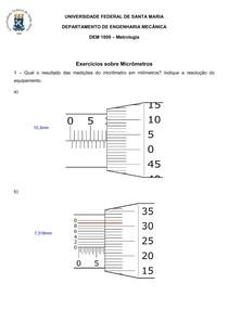 Exercícios sobre Micrômetro