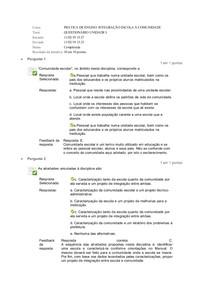 PRÁTICA DE ENSINO: INTEGRAÇÃO ESCOLA X COMUNIDADE QUESTIONÁRIO UNIDADE I