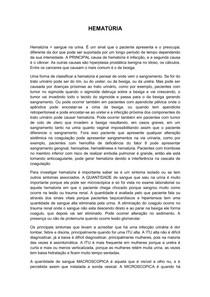 HEMATURIA, DISÚRIA E POLIÚRIA