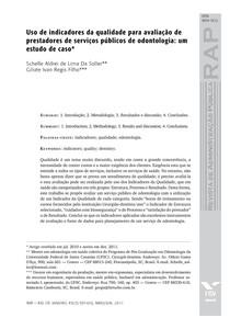 Uso de indicadores da qualidade para avaliação de  prestadores de serviços públicos de odontologia   um estudo de caso