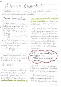 Inferência Estatística 1 - Assunto: Teorema central do limite, amostra, população, Distribuição amostral para diferencias entre médias, Distribuição da proporção Amostral , variável dicotômica.