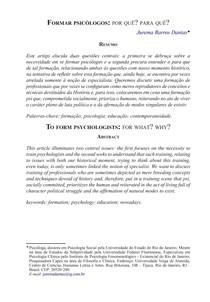 Formar Psicólogos   Por quê  Para quê