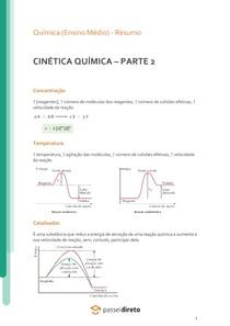 Cinética química: velocidade da reação - Resumo