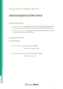 Dissociação eletrolítica - Resumo