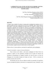 A IMPORTÂNCIA DO ATO DE LER DE PAULO FREIRE LEITURA AUTÊNTICA, RELEITURA DE MUNDO E CONSTRUÇÃO DE SIGNIFICADOS