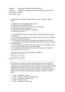 Prova Objetiva II   Sistemas de informações Contabéis