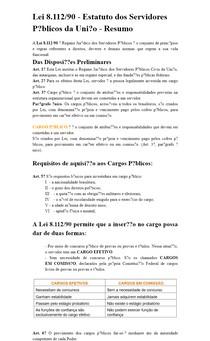 Lei 8.112/90 - Estatuto dos Servidores Públicos da União - Resumo