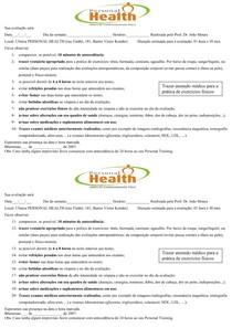 Ficha de Orientações ao Cliente para a Avaliação