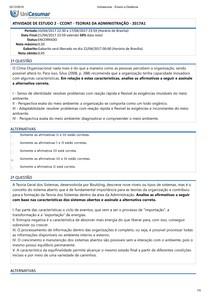 ATIVIDADE DE ESTUDO 2 - CCONT - TEORIAS DA ADMINISTRAÇÃO - 2017A1