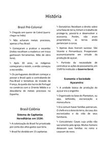 Resumo de História - Brasil Pré-Colonial e Colonial