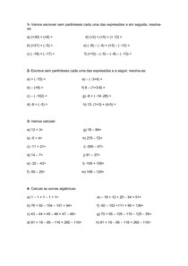 Soma e subtração de números inteiros - exercícios