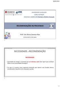 Aula 2   Recomendações Nutricionais (DRI)