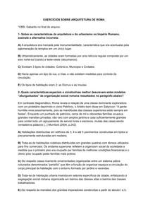 EXERCÍCIOS SOBRE ARQUITETURA DE ROMA