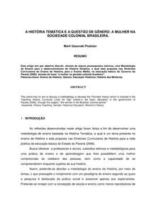 A HISTÓRIA TEMÁTICA E A QUESTÃO DE GÊNERO