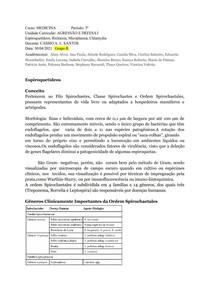 Espiroquetídeos, Ricktesia, Micoplasma, Chlamydia