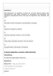 Tipos de Algoritmos (exercícios/respostas)