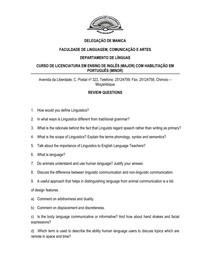 General Linguistics Test 1 (Preparation Questions) pdf - Lingü