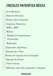 Checklist De Matemática Básica