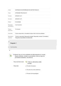 SISTEMAS DE INFORMAÇÃO NO SETOR PÚBLICO - ATIVIDADE TELEAULA III