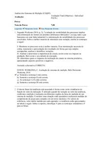 Análise dos Sistemas de Medição (CGQ05) Avaliação Final Objetiva