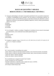 Banco de questões com gabarito - Bioestatística e Metodologia científica