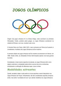 Jogos olímpicos- Modalidade estreantes