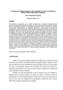 O DESAFIO DE ENSINAR EM MEIO A UMA PANDEMIA - TCC- PROJETO DE ENSINO - #exclusivopd