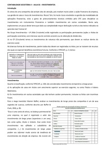 CONTABILIDADE SOCIETÁRIA II Aula 01 ao 10